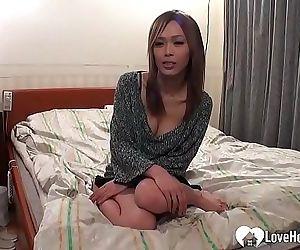 Adorable brunette Asian pleasured..