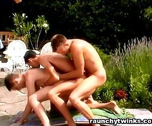Sexy Jocks Hot Poolside Threesame Gay Fuck