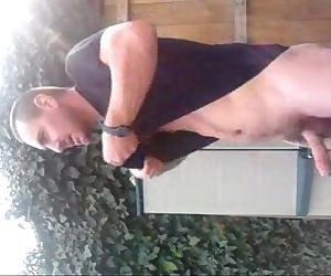 cumming in garden and nearly caught as train passes!