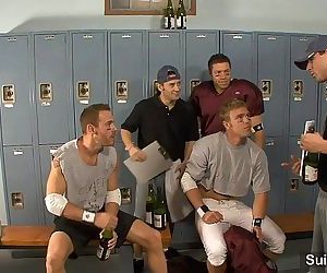 Threesome jocks in locker roomHD