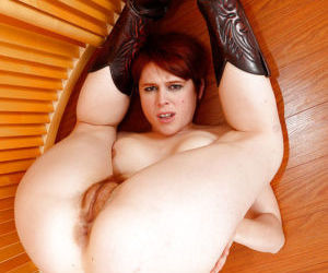 Redhead MILF Lily Cade spreading hairy vagina in cowgirl boots - part 2