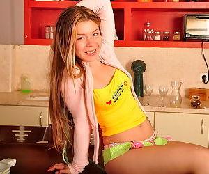 Playful teenage honey bares her..