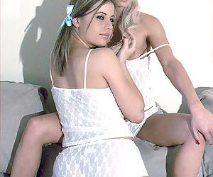 Teen babes playing in white..