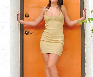 Girl in a skimpy dress outdoors flashes and puts a toy into her perfect pussy