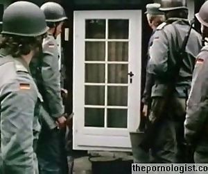 Hot blonde gets fucked by a soldier in German vintage porn