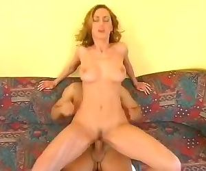 Big tits Fanny Steel fucks on the couch