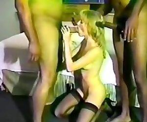 Black cocks fuck the white blonde..