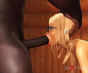 3dxpassion.com. Nerdy girl in glasses gets bitchy by black..