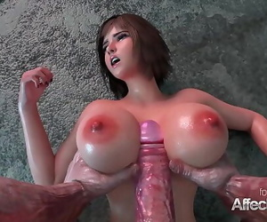 Huge knockers honey fucked by an ancient monster in a 3d..