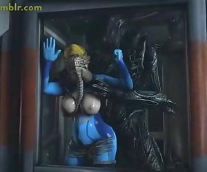 Zero-Suit Samus Aran Predominated by Xenomorph Cock 70 sec..