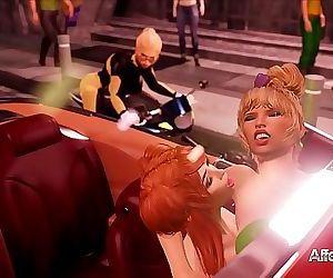 Ash-blonde cop catches a sapphic futa duo in a hd..