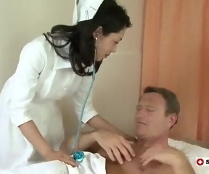 Japanese Nurse Takes 2 Sensitive in Threesome