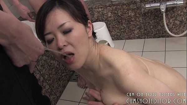 Obedient Japanese Slut Pleasing Cock In The Bathroom