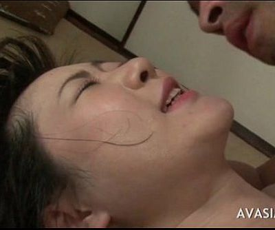 Asian honey on her back and takes a fat cock in asshole - 6 min