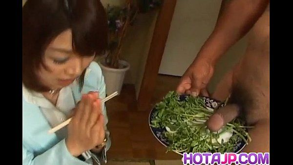 Mitsu Anno gets shaft deepthroat and cum in facehole in food fetish