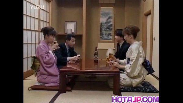 Japanese mummies sticks dick in her cunt next to other couple