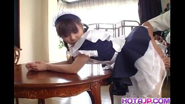 Pretty Asian maid Natsumi exposes hot beaver for finger-tickling