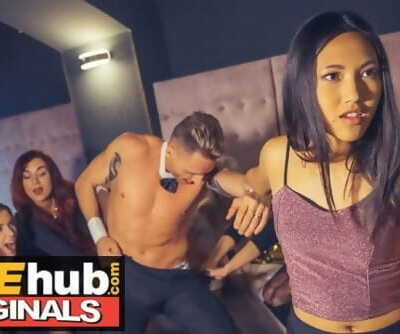 LADIES CLUB Asian Teen Gulps Stripper's Cum in Public Bathroom