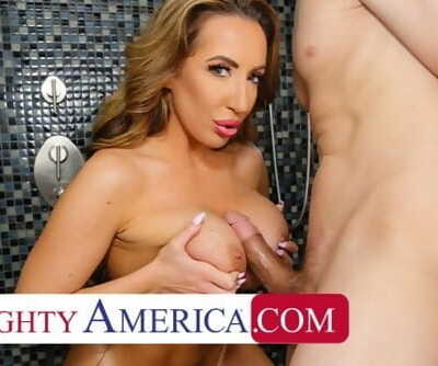 Naughty America Richelle Ryan soaps up with friends hubby