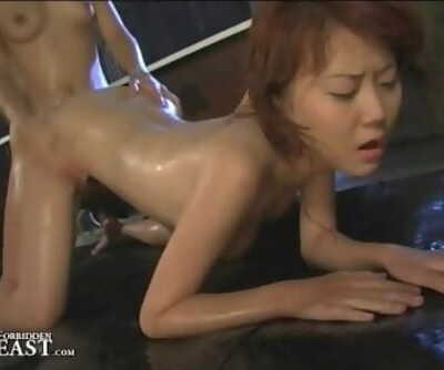 Japanese FemDom Dominates Lesbian Enslaved With Face Sitting And Oil Lovemaking