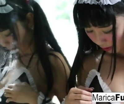 Japanese maid gets wild cleaning up the bathroom