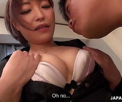 Japanese cock teaser, Yui Ayana is softly sniffing dick, uncensored 5 min