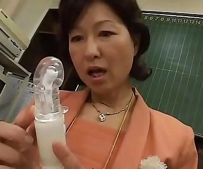 Japanese milf teacher wanking in the office 7 min