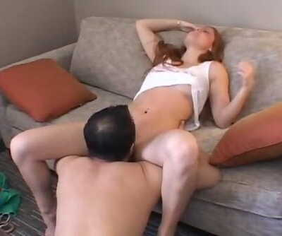AMWF Farrah Flower USA Chick Crimson Hair Hot Cunt Interracial Sex Chinese Man
