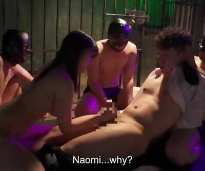 Japanese Mafia Sex Gimp Wife gives Cuck Spouse a Handjob