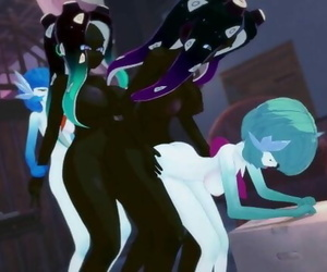 Futa Orgy: Gardevoir and Marina have a all out Clone..