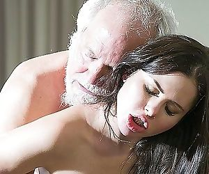 Teenage Interrupts Grandpa from Yoga And Deep throats his Cock wet and firm