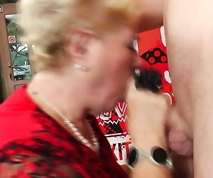 Old and youthful gangbang with 2 grandmothers