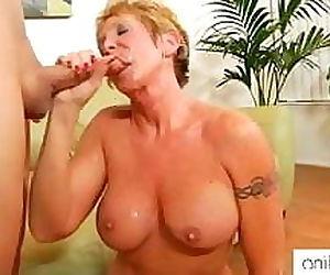 Horny granny likes facials