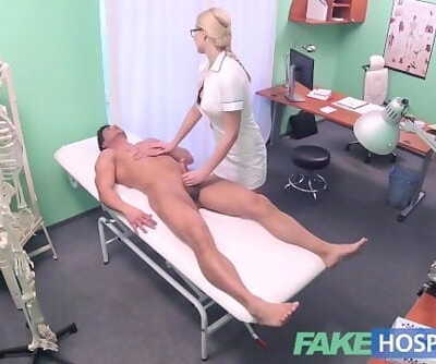 Fake Hospital Fit man cums over hot blonde nurses tits after pounding her