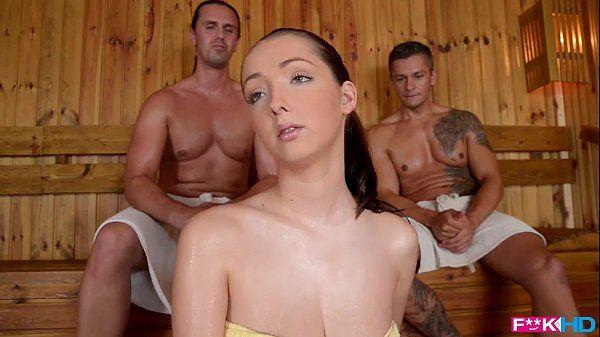 FuckinHDLucie Wilde warm Screw with 2 guys in the SaunaHD