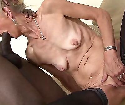 Granny bitchy hard in her ass by dark-hued stud she gets creampied 10 min 1080p