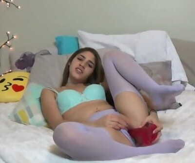 spectacular teenage vagina caressing in purple pantyhose. ending off with a crimson dildo