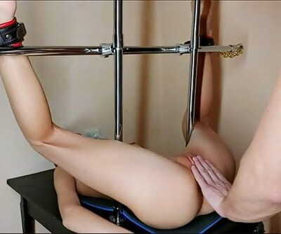Metal Restrain bondage Teen Girl. Gets Climax With Hitachi & Fucked. Pt 2