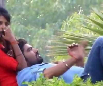 Desi honey offering her hooters as cushion to tweak - caught in park