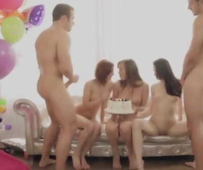 Warm men give a birthday girl and her friends a crazy fuck