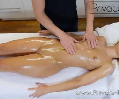 Blonde teen woman gets orgasm massage