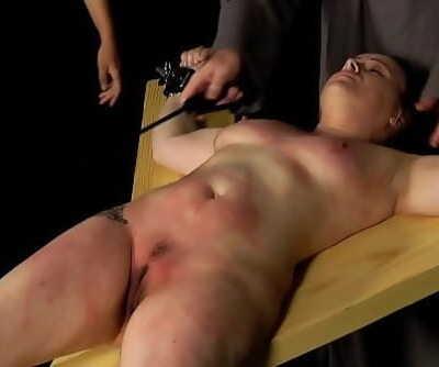 Brutal vagina whipping for plump slut 4 min 1080p