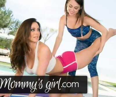 Kendra Lust Scissors Riley Reid at Yoga Class