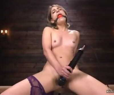 Sadism Vagina Petite Blond Honey Kristen Scott Masturbates with Vibrator then in Rope Bondage and Gagg