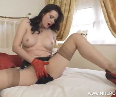 Scorching Big-titted Mummy Karina Currie Jerks in Red Lace Gloves High High-heeled slippers and Vintage Nylons
