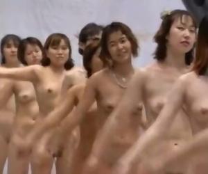 Japanese TV Game Demonstrate Calisthenics with 64 Naked..