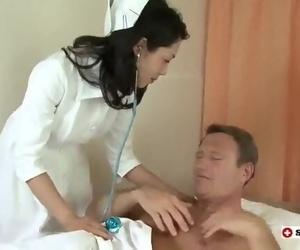 Japanese Nurse Takes 2 Tender in Three way