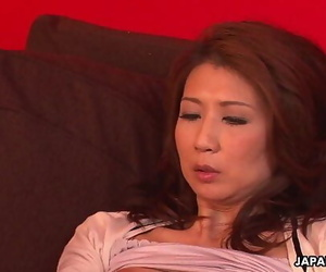 Asian mummy has a hookup plaything session with her pussy
