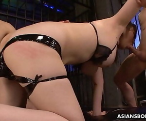 Submissive slut Kaoru Hirayama gets played and dual teamed..