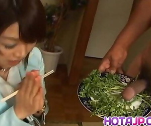 Mitsu Anno gets hard-on deepthroat and cum in mouth in..